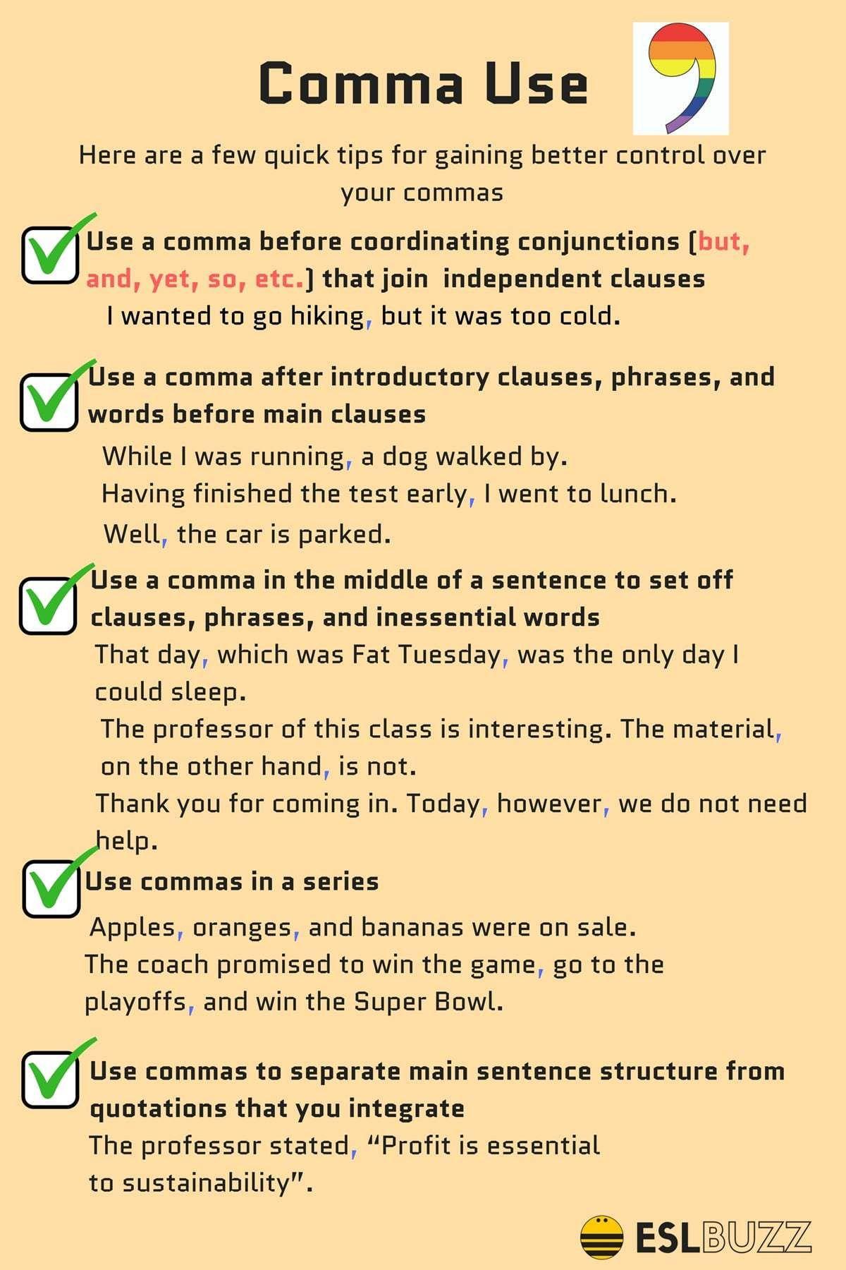 How to Use Commas Correctly  Englisch lernen, English lernen, Lernen