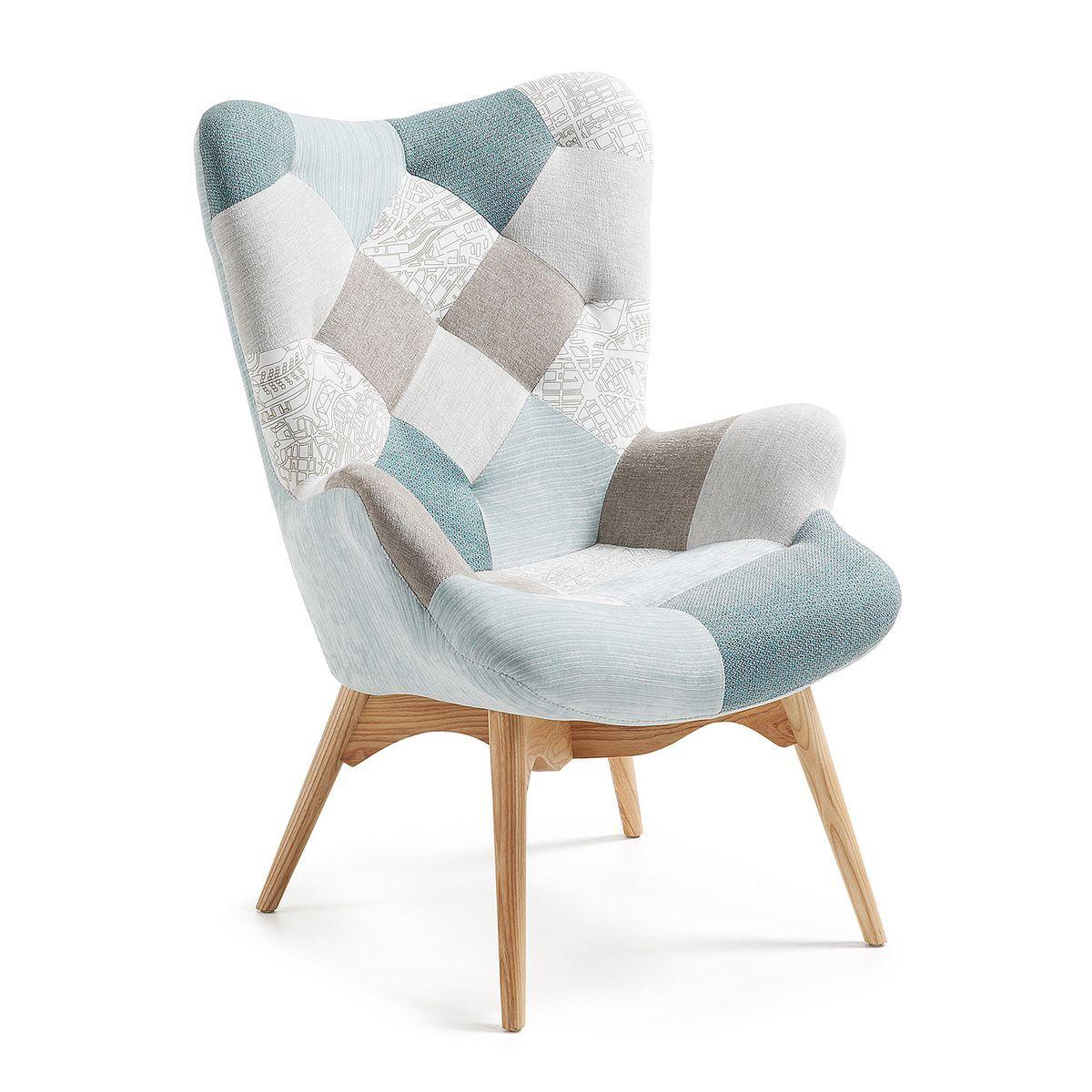 Fauteuil Kody Patchwork Bleu Taille Taille Unique Chair Kave Home Armchair Design