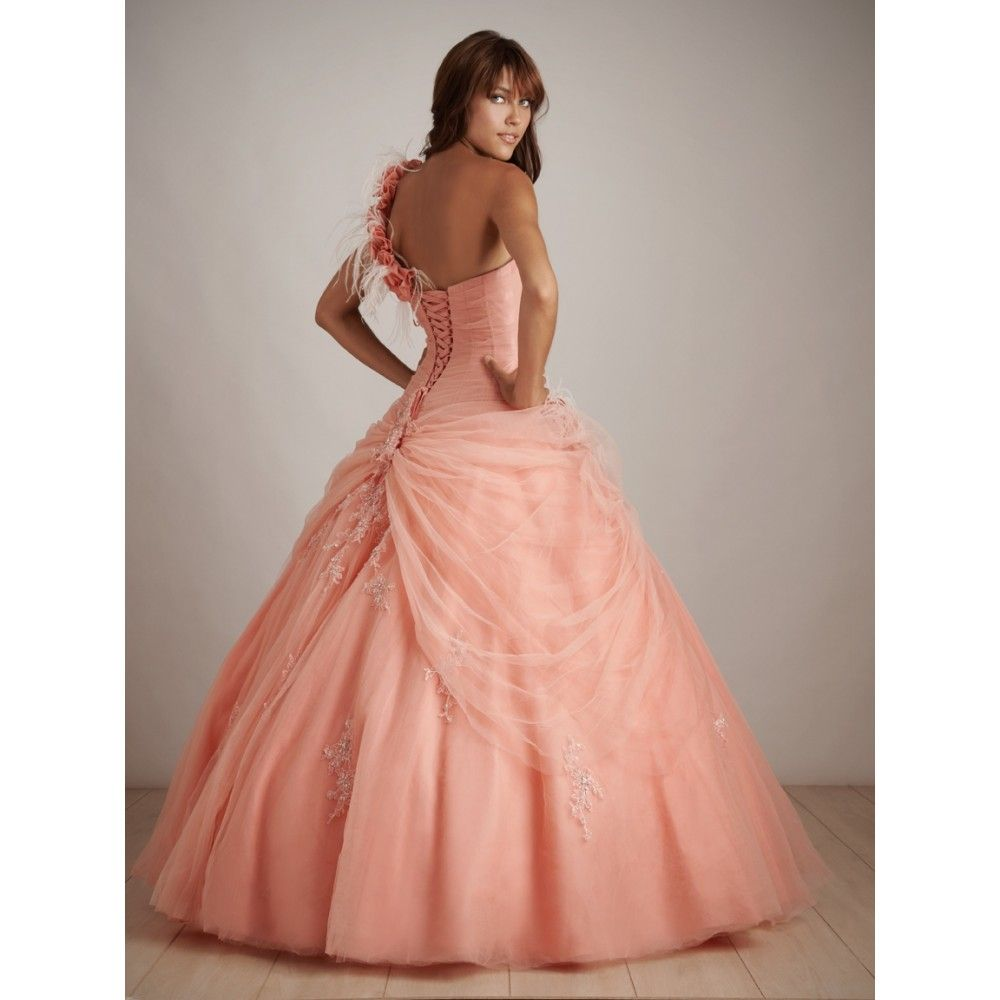 Light peach prom dress gown strapless appliques beaded flower