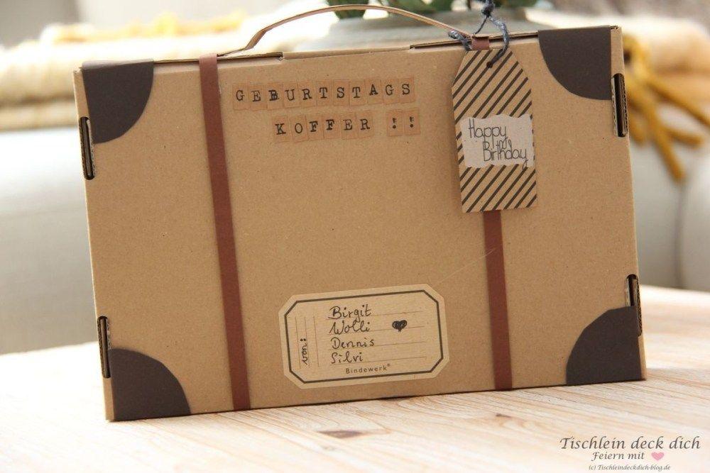 Kreative Geschenkverpackung basteln - ein Geburtstagskoffer geht auf die Reise - Tischlein deck dich #schrottwichtelnideen