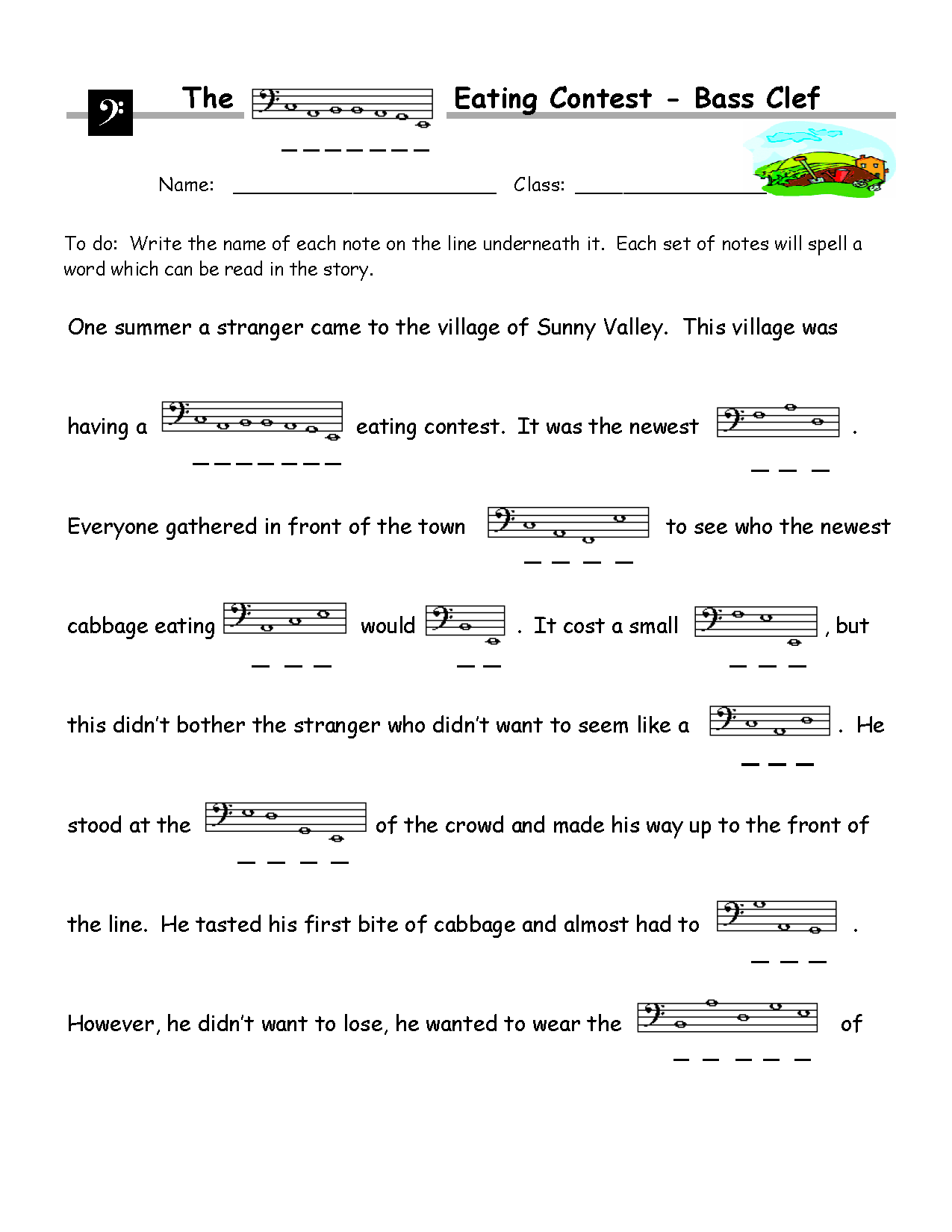 Know Your Note Names Image Of Bonus Worksheet 4 Piano File