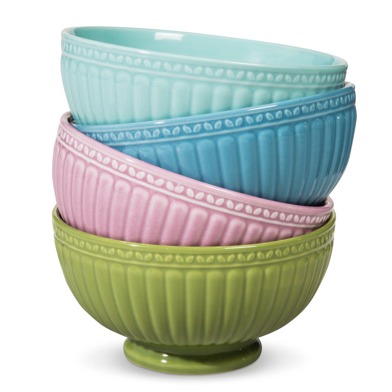 Camille Assorted Cereal Bowl Set Solid Multicolored 4pc   Boho ...