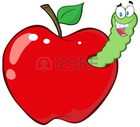 Gusano sale feliz de la manzana roja Foto de archivo  dibujos