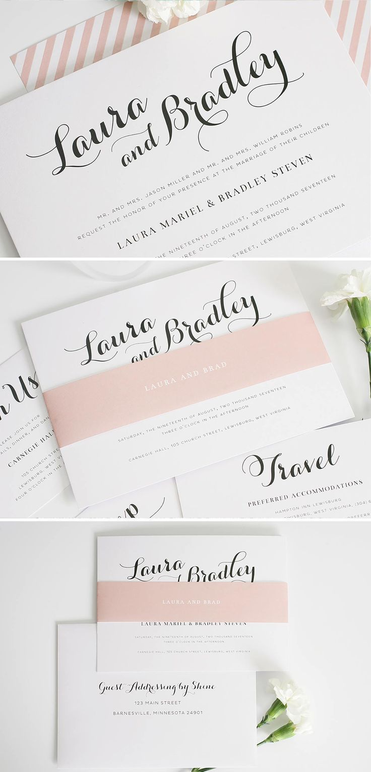 Romantic Script Wedding Invitations | Romantic, Romantic wedding ...