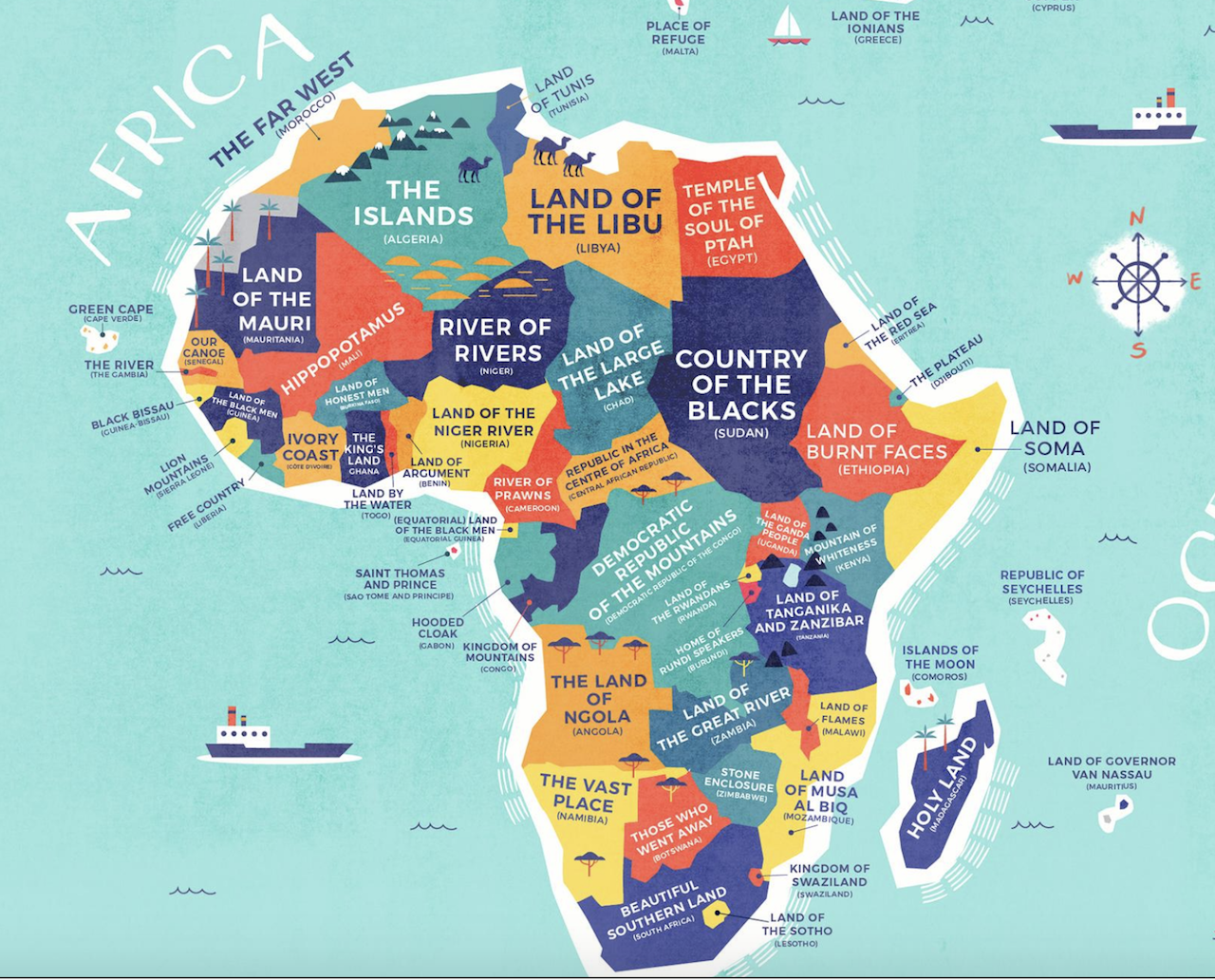Map Of Africa With Country Names This map shows the literal meaning of every country's name