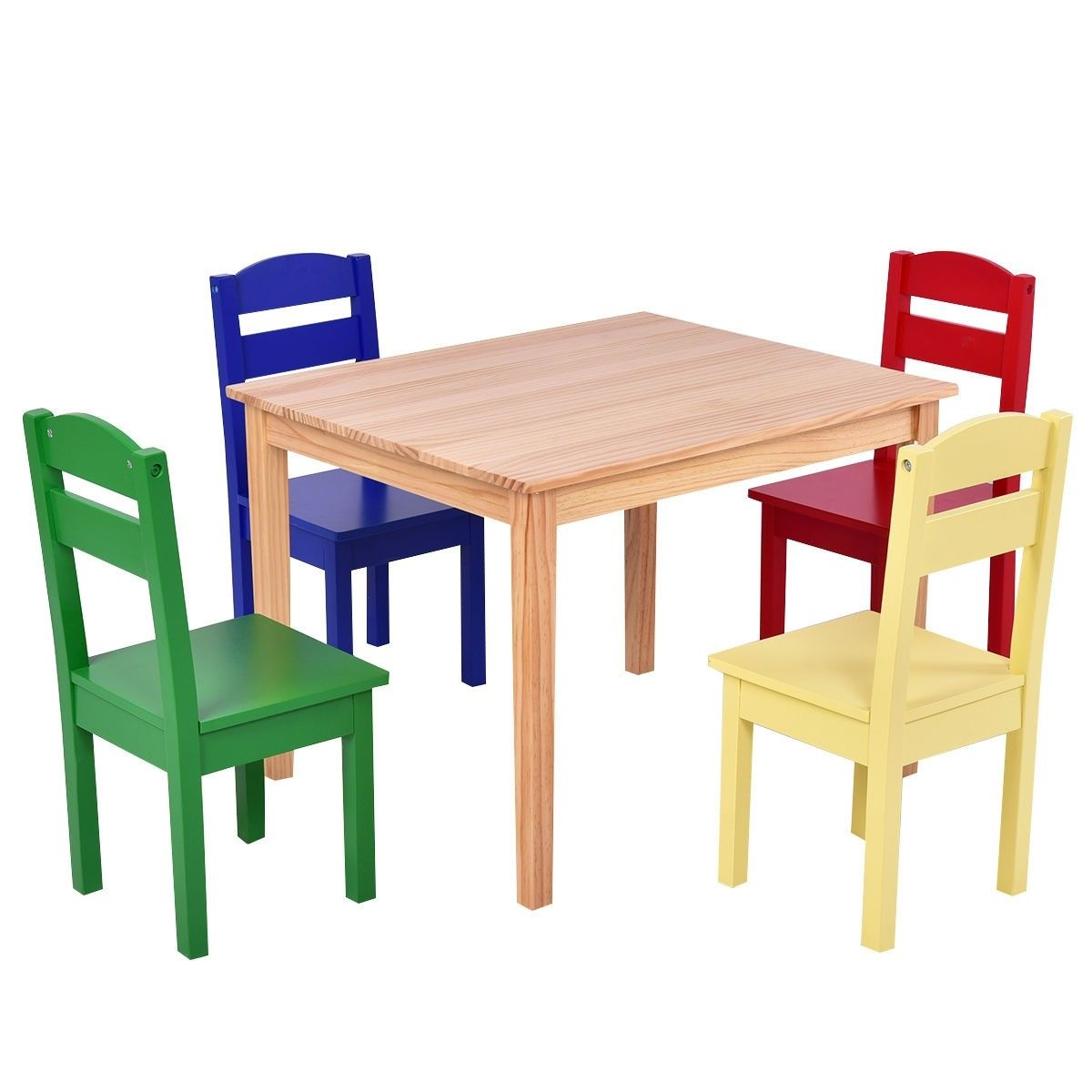 5 Pcs Kids Pine Wood Table Chair Set With Images Kids Wooden