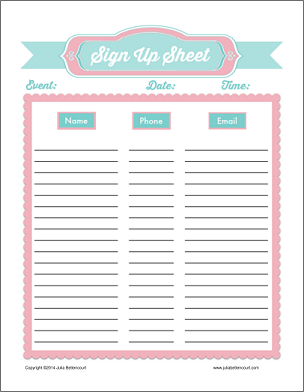 Free Printable Sign Up Sheets  Printable Sign Up Sheet Template