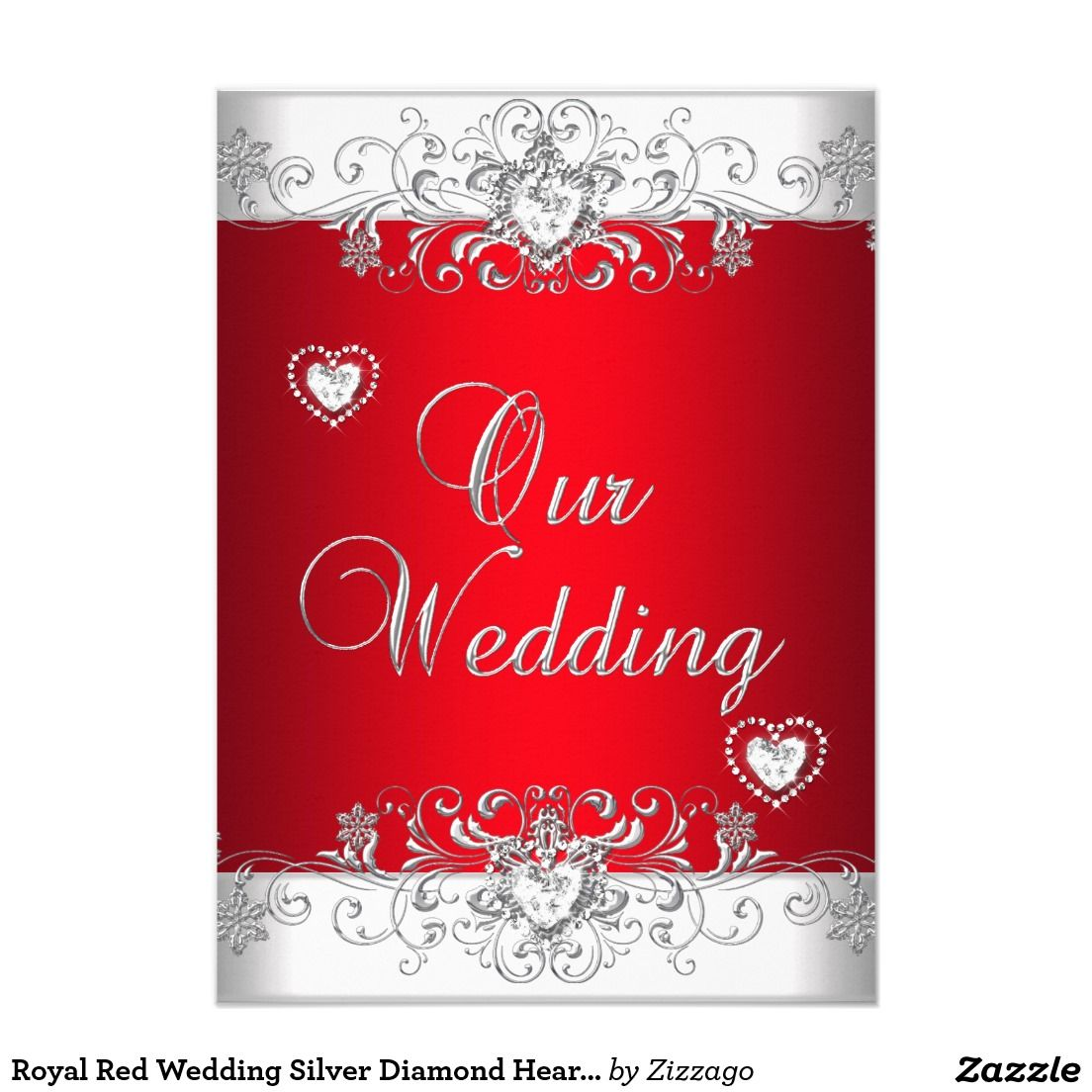 Royal Red Wedding Silver Diamond Hearts Invitation | Pinterest | Red ...