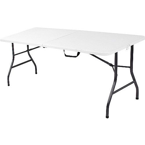 Mainstays 6 Foot Long Banquet Table Folds In Half For Travel