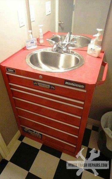 Mechanic 39 s bathroom things i find amazing pinterest for Man cave bathroom sink