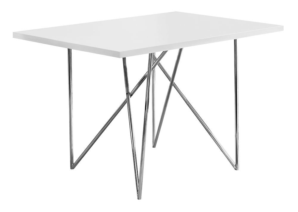 Dining Table 32 Inch X 48 Inch White Chrome Steel Dining Table