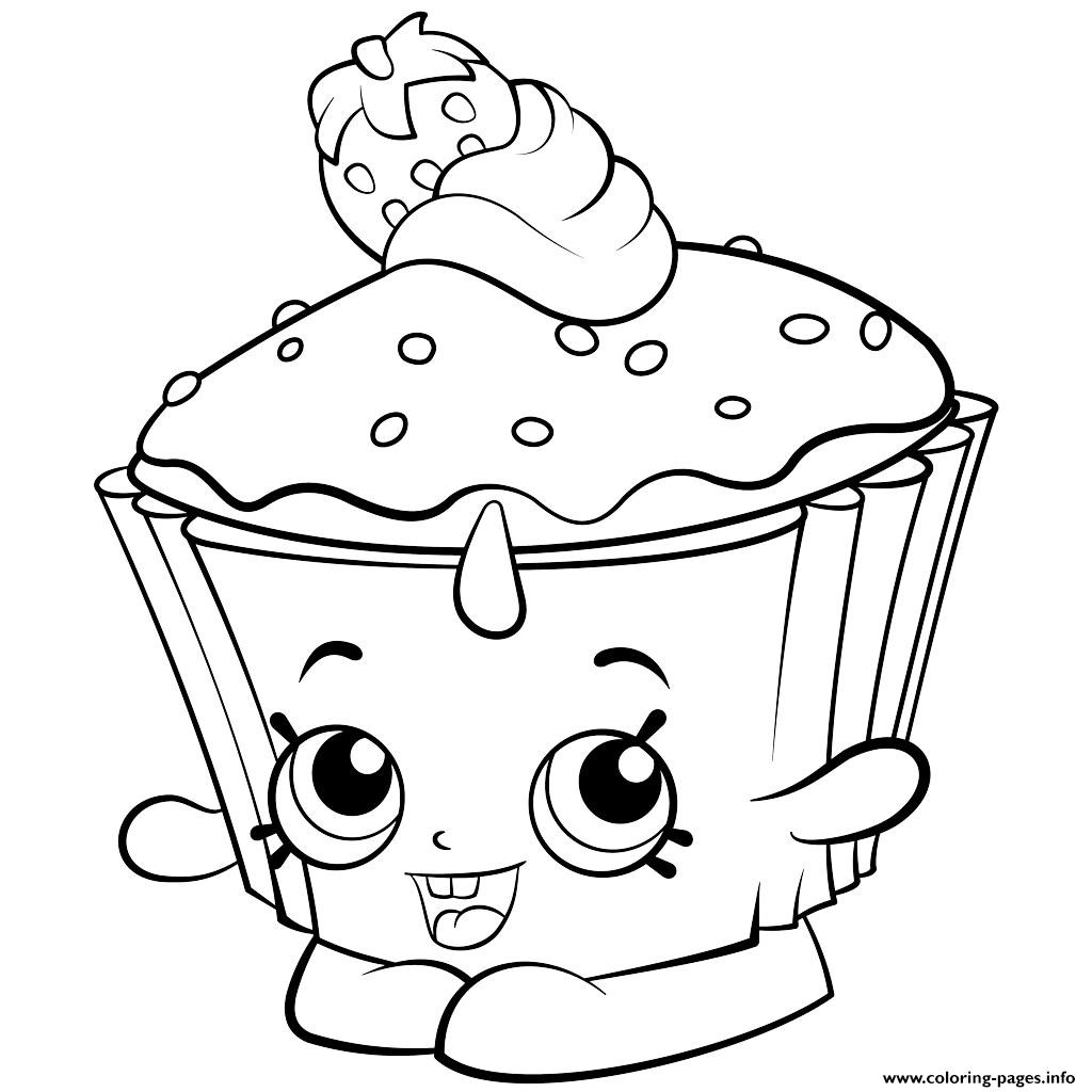 - Print Exclusive Shopkins Colouring Free Coloring Pages Cupcake