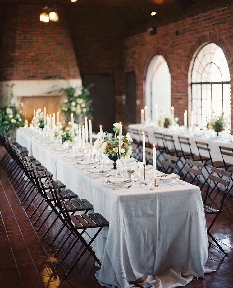 Beautiful industrial reception White Table SettingsWhite