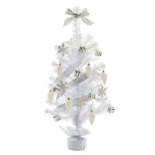 60cm White And Silver Decorated Mini Artificial Christmas Tree £12.99 |  Lights4fun.co.