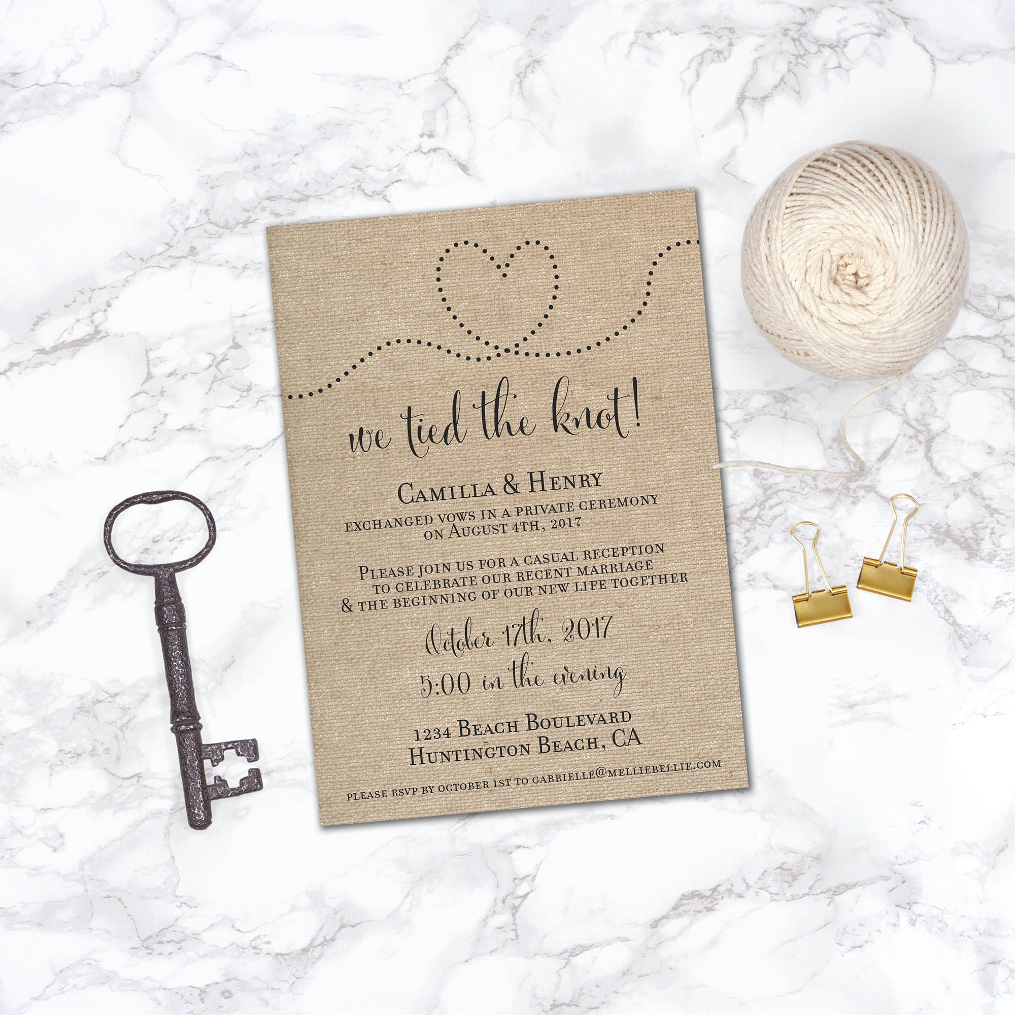 Printable Elopement Reception Invitation Reception ly Already