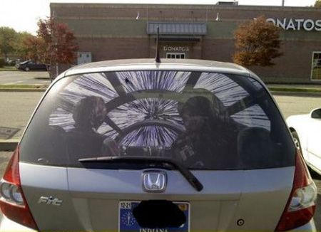 Custom Rear Window Graphics Hans Solo And Chewy Decal Window - Custom rear window decals for cars