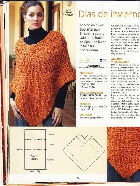Pasatiempos entre hilos y puntadas: Ponchos / Crochet / Dos agujas ...