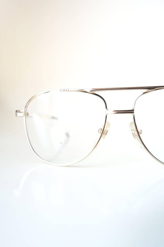 Vintage 1970s Golden Eyeglasses Mens Glasses 70s Aviator Aviator