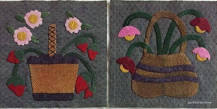 Little Wooly Baskets Blocks 5&6. Made by Becky Hoffman www.dawnheesequilts.blogspot.com