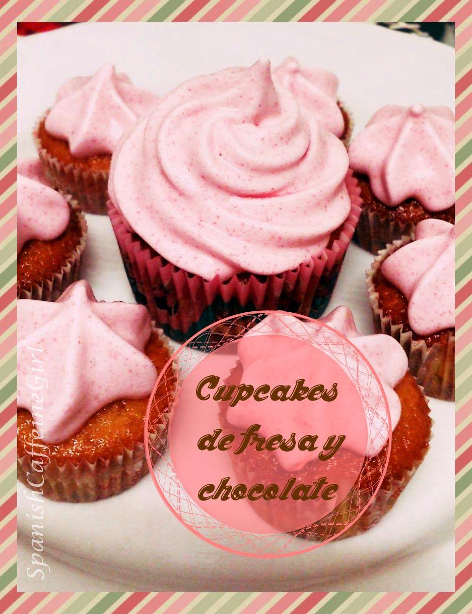 Receta (súperfacil!) de cupcakes de fresa con pepitas de chocolate - chocolate & strawberry cupcakes recipe -