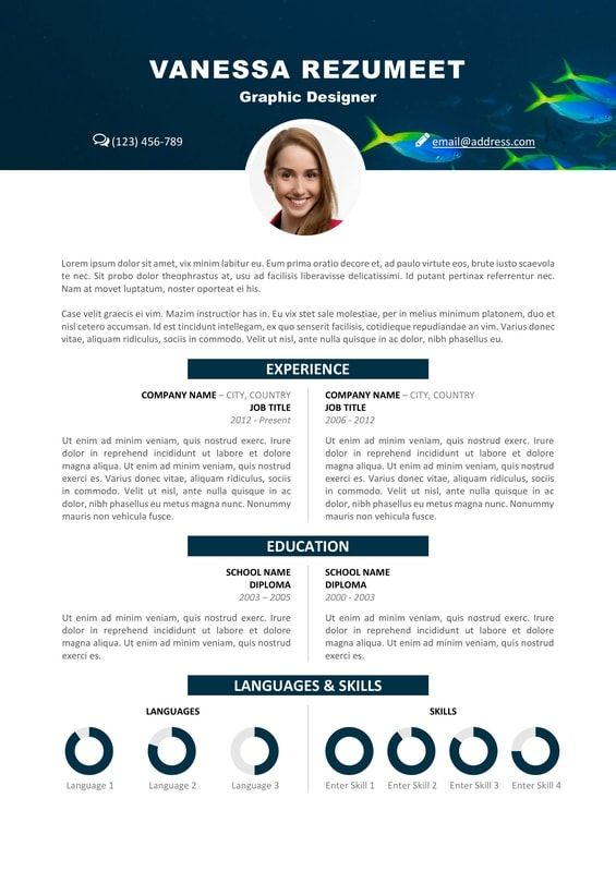 Vesterbro - Free Nature Resume Template - Tropical Fishes Modern - free resume design templates