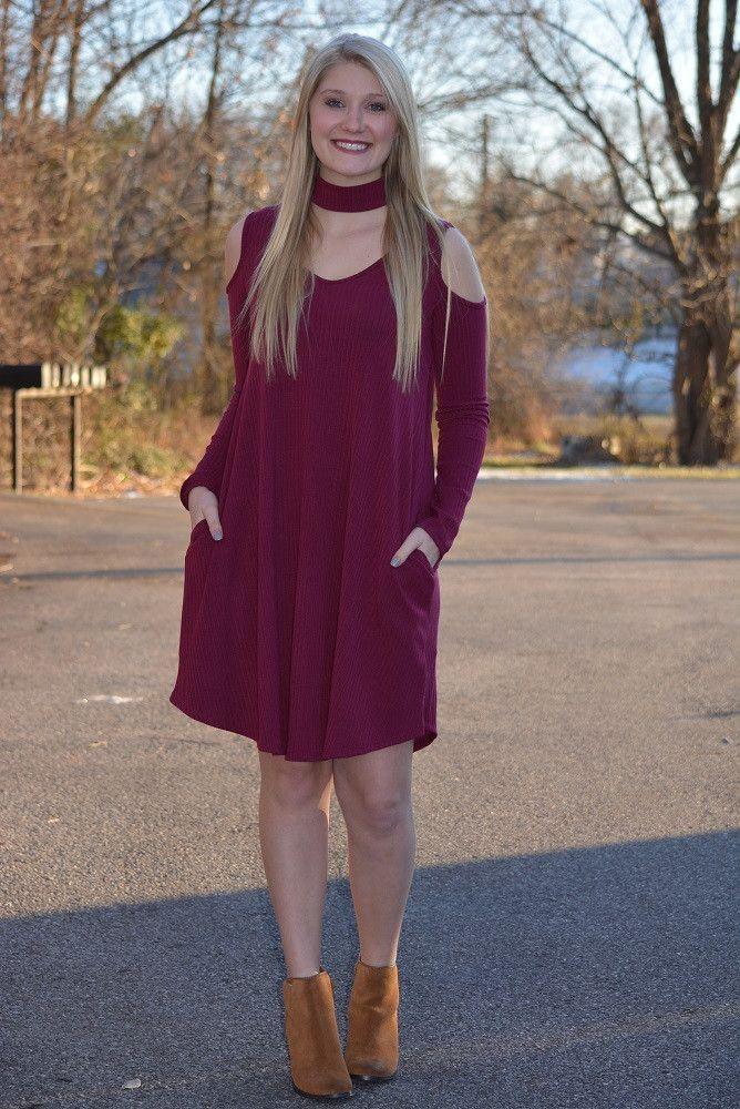 Focused and Fabulous Pocket Dress ~ Burgundy