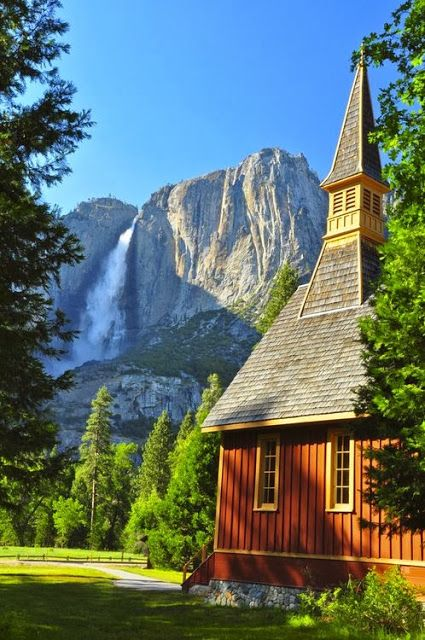 Old chapel near Yosemity Falls, California