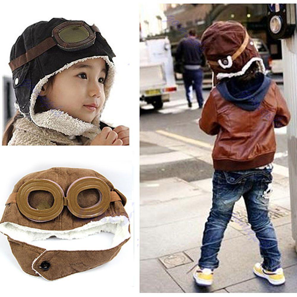 ddb7daf6422390 New Cute Baby Toddler Boy Girl Kids Pilot Aviator Cap Warm Hats Earflap  Beanie #Unbranded
