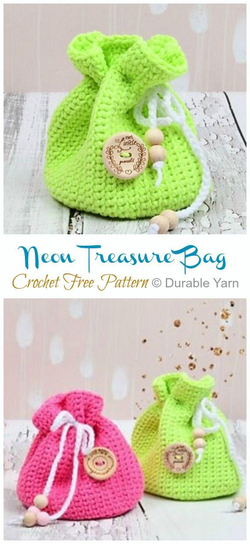 Quick Drawstring Gift Bag Crochet Free Patterns • DIY How To -   21 knitting and crochet Free Patterns kids ideas