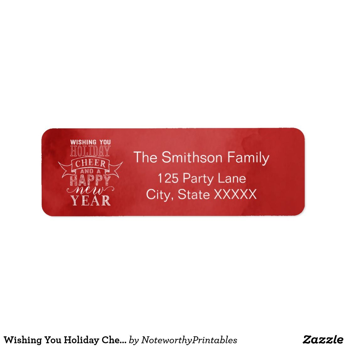 Wishing You Holiday Cheer | Red Watercolor Address Label | Christmas ...