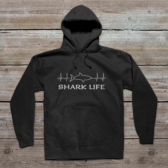 EKG Shark Outline Shark Life Pullover by SharkLifeClothingCo