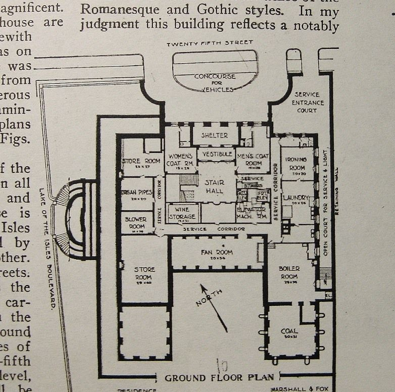 Gates Mansion, Lower Level. Mpls, MN   Architectural Floor Plans ...
