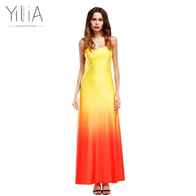 14a003a0e9e9 Yilia Women Beach Dress 2017 Maxi Long Dress Boho Casual Summer Wedding Evenings  Party Sleeveless Gradient Patchwork Orange Blue - Orange