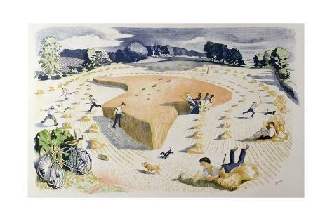 Giclee Print: Harvesting, Printed at the Baynard Press, for School Prints Ltd. b...