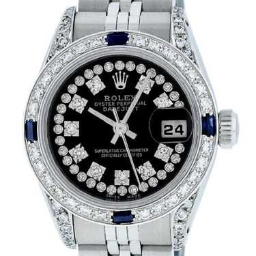 Rolex Ladies Stainless Steel 26MM Black String Diamond #stainlesssteelrolex