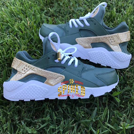 Custom Olive Green and Gold Glitter Nike Air Huaraches with glitter logo  (Women   Men sizes - contac 08a7945f2