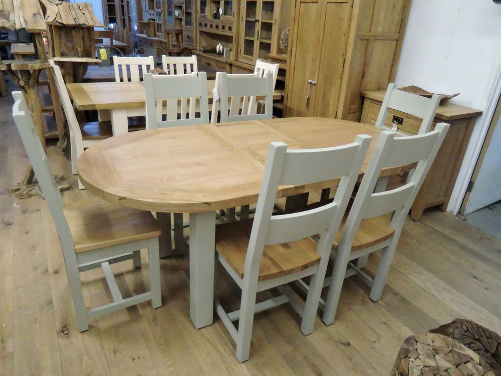 Charmant VANCOUVER OAK AND ACACIA EXTENDING OVAL TABLE AND 6 CHAIRS OAK SEATED ANB138