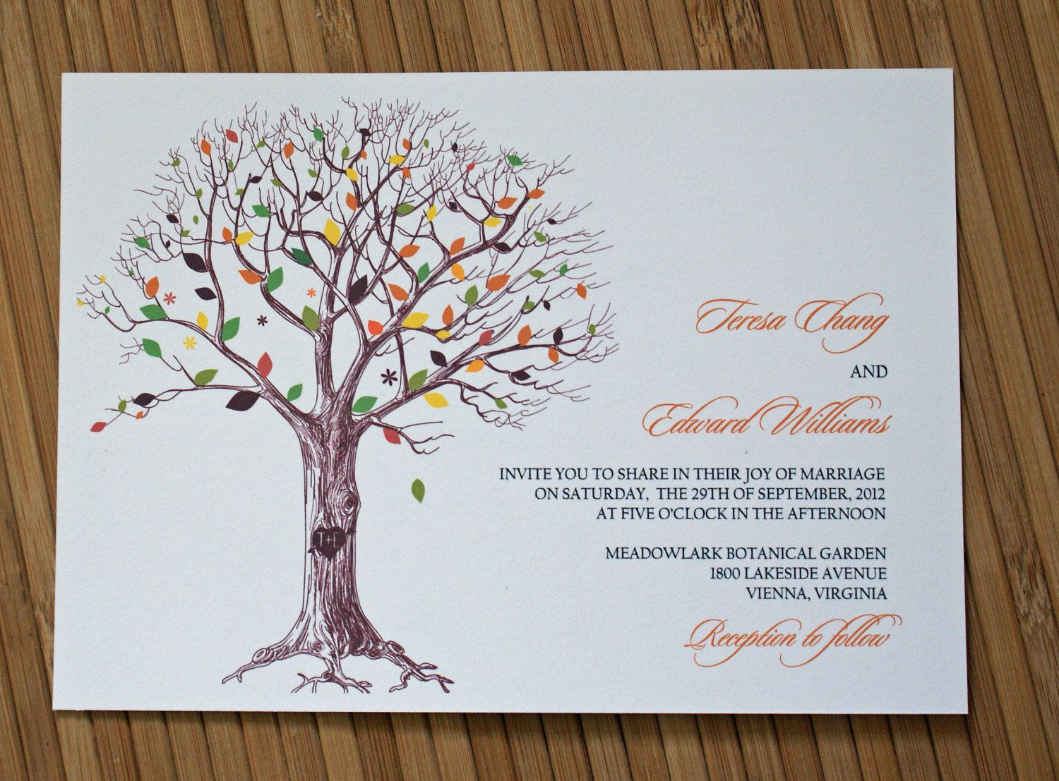 Rustic Tree Wedding Invitation with Carved by TaylorsPaperie ...