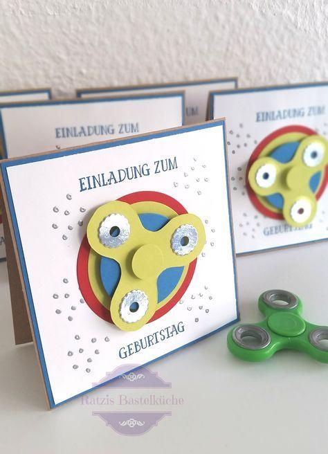 spinner einladungskarte (nicht nur) zum kindergeburtstag
