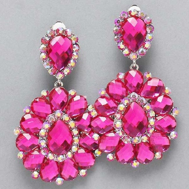 Pink Fuchia Crystal Rhinestone Chandelier Clip Bridal Drag Queen Pageant Earring