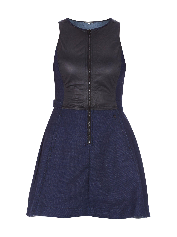 G-STAR-RAW Kleid im Denim-Look mit Oberteil in Lederoptik in Blau ...