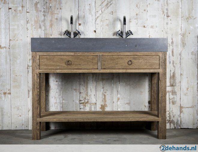 Badkamermeubel oud hout wastafelmeubel steen grote voorraad bathrooms pinterest - Badkamermeubels steen ...