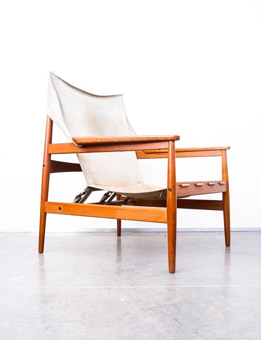 For Sale This Week, Rare Swedish Sling / Safari / Lounge Chair In Suede And