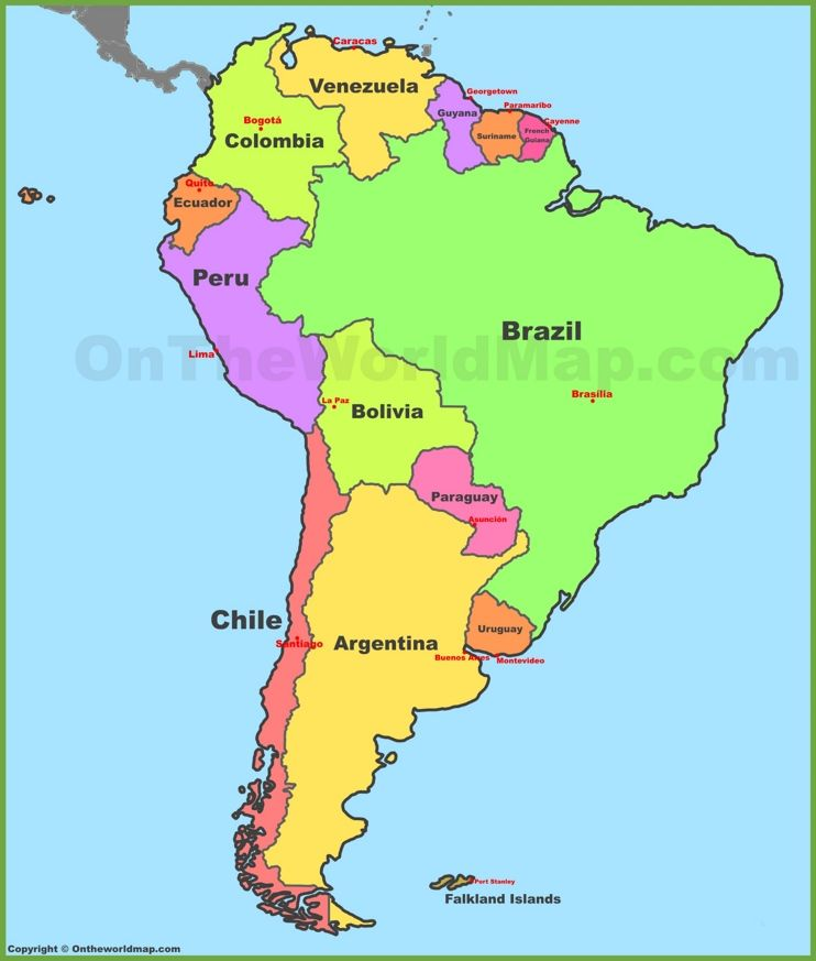 Map of South America with countries and capitals Maps Pinterest - copy world map of america and europe
