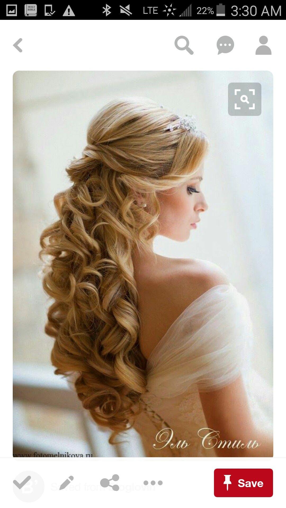 Bride Ceremomy Hair 1 2 Up 1 2 Down Tiara Beautiful Hair