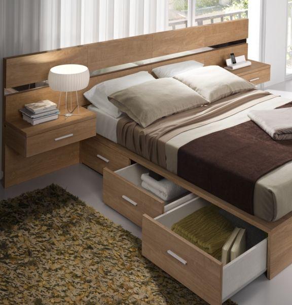 aprovechando el espacio en el dormitorio de matrimonio, cama con ...