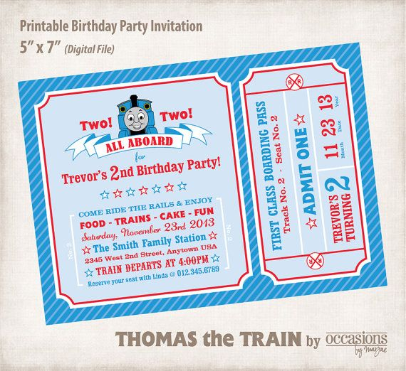 Personalized Printable Birthday Invitation Digital File Thomas The