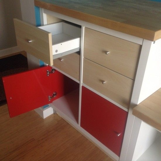 add hinged doors or pullout drawers to a simple cube shelf let 39 s add drawers to the desk. Black Bedroom Furniture Sets. Home Design Ideas