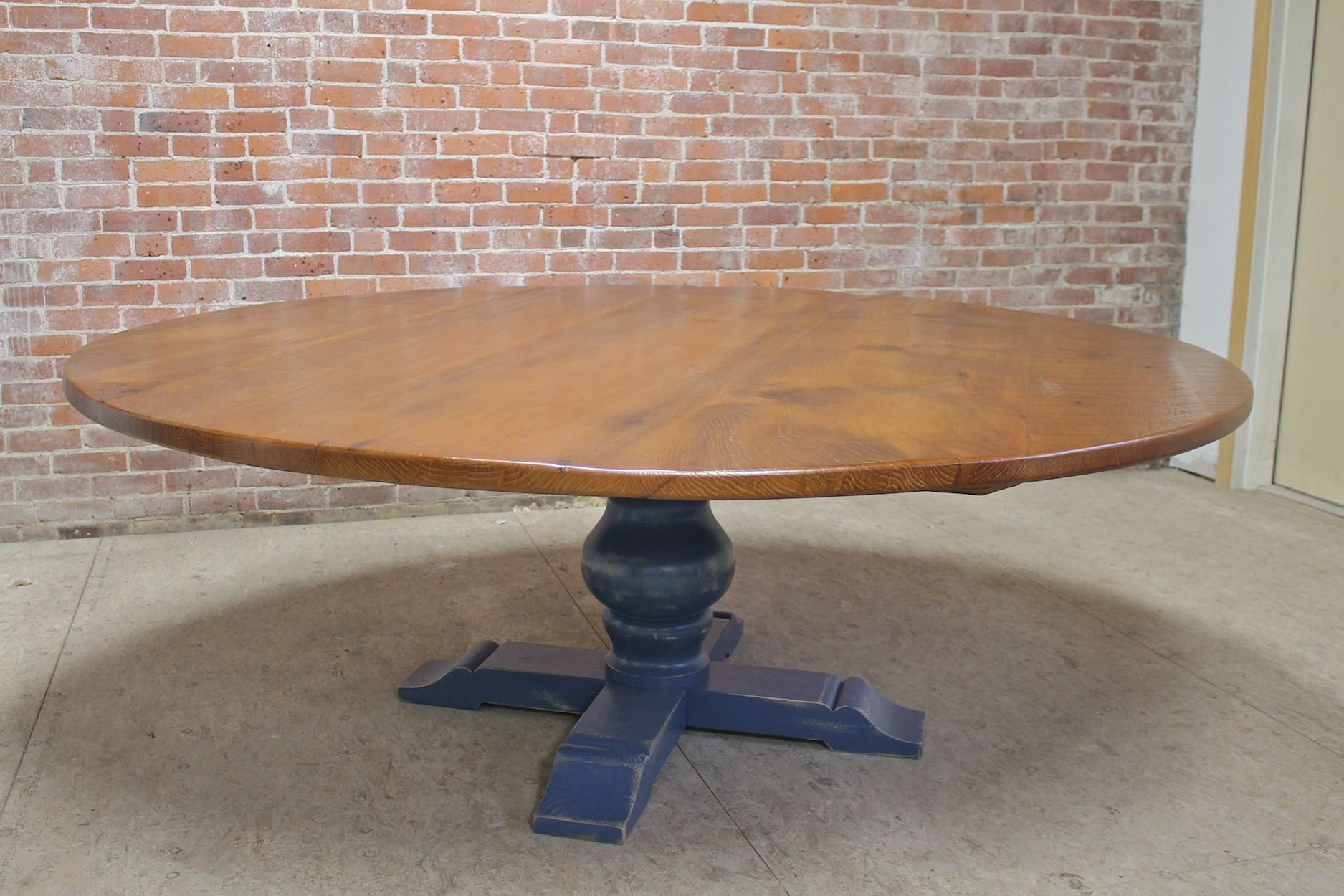Large 84 Inch Round Table With Pedestal Base Lake And Mountain Home Reclaimed Wood Chair Farm Table Barnwood Dining Table
