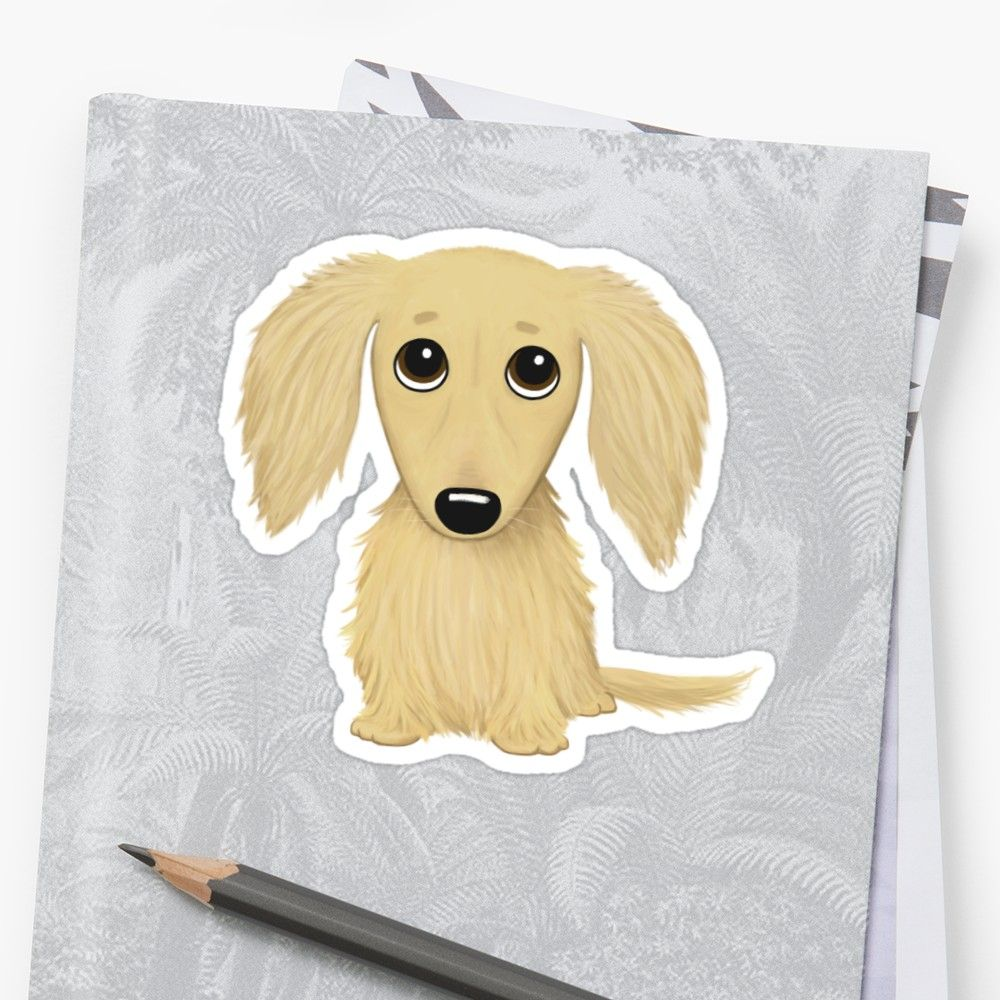 Longhaired Cream Dachshund Cartoon Wiener Dog Sticker Cream